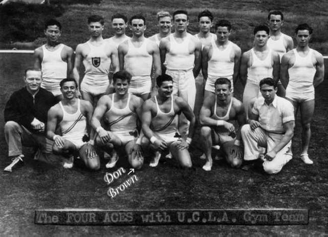 Don Brown as Member of 4 Aces with UCLA Gymastics Team